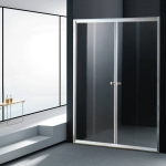 Sliding shower door with frame