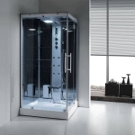 Simple steam room with glass back board