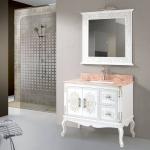 White bathroom vanity with Golden Paint