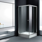 Square shower enclosure with tray