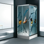 Square shower enclosure with color glass