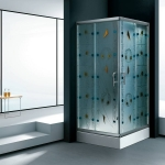 Square shower room with color glass