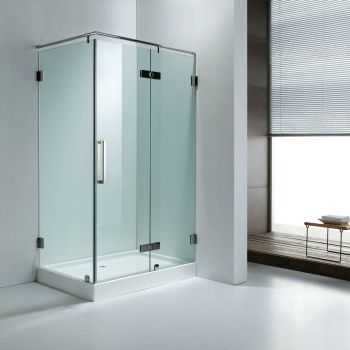 Square frameless shower door