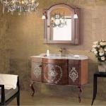 Antique bathroom cabinet with bronze faucet