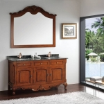 Three doors Double bowl bathroom vanity