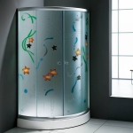 Shower enclosure with color glass